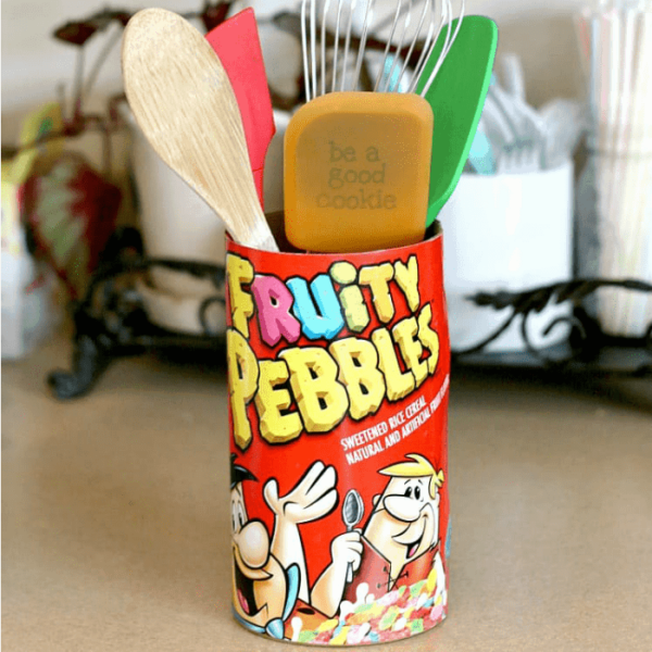 DIY cereal box utensil holder