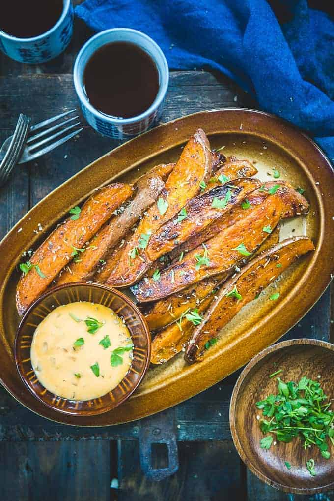 Baked Sweet Potato Wedges by Whisk Affair and other great appetizer and party food ideas