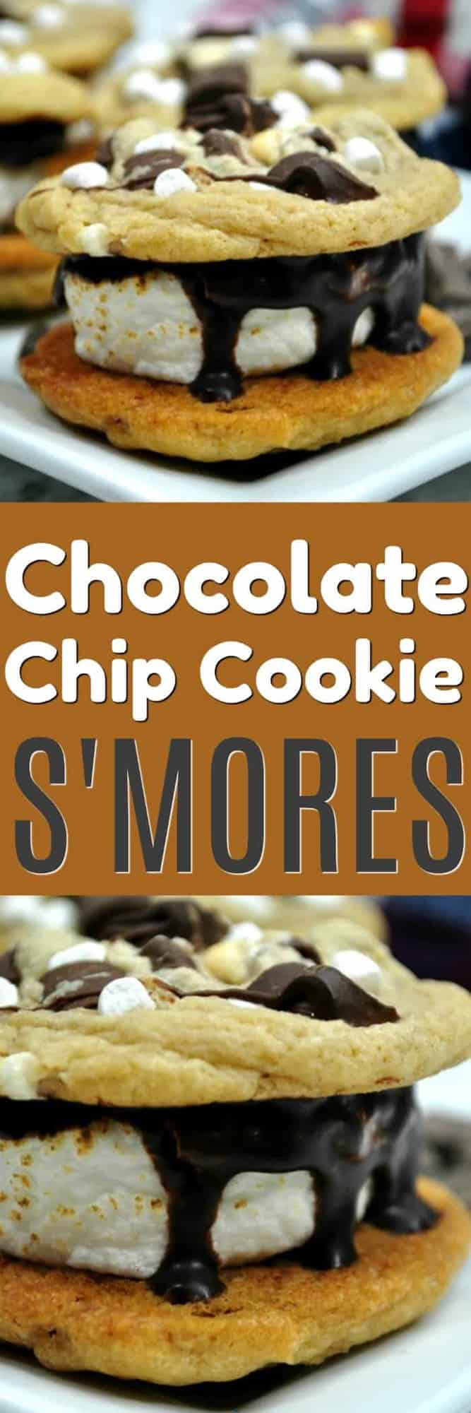 Chocolate Chip Cookies S'mores bring two of my favorite things together. Roasted marshmallows smooshed between to warm and delicious chocolate chip cookies and top it off with a drizzle of chocolate ganache. It doesn't get much better than this!