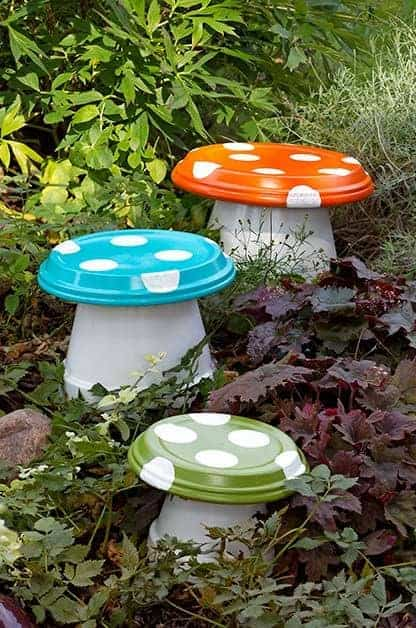DIY Garden Mushrooms by Birds and Blooms | Enchanting Backyard Ideas