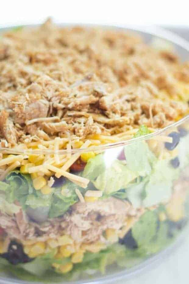 Easy Chopped Mexican Layer Salad by Spaceships and Laserbeams | These entertaining recipes are going to taste amazing!