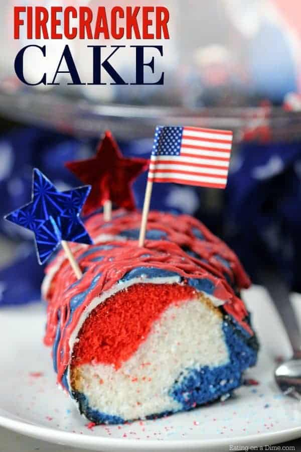 Easy FIrecracker Cake by Eating on a Dime | Delicious 4th of July Dessert Recipe Ideas!