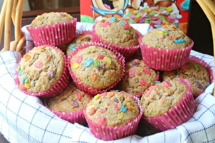 Fruity Pebbles breakfast muffins in a basket
