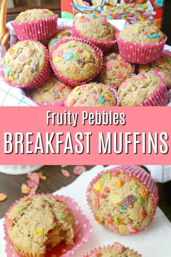 Quick and easy Fruity Pebbles Breakfast Muffins – a family favorite and the perfect grab-and-go breakfast or anytime snack! Great for a make-ahead breakfast. These fun, colorful, and nutritious breakfast muffins make both Mom and kids happy.