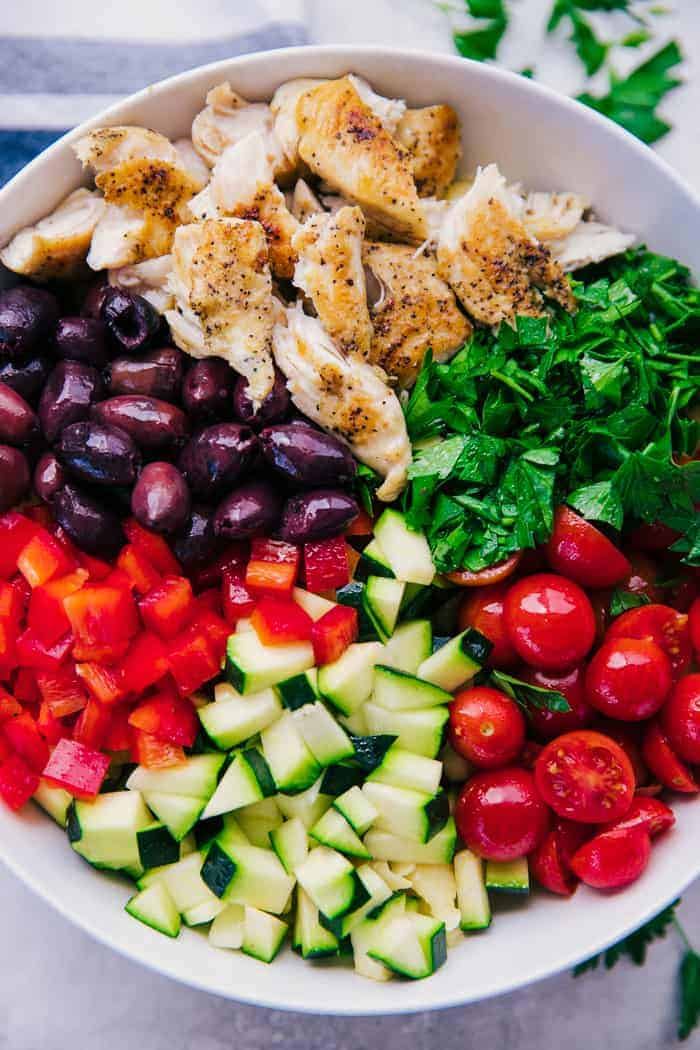 Greek Chicken Pasta Salad Ingredients