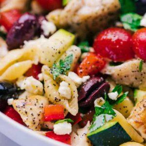 greek chicken pasta salad