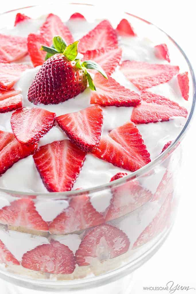 Low Carb Sugar Free Strawberry Trifle from Wholesome Yum | Red White and Blue Dessert Recipes that are Simply Amazing!