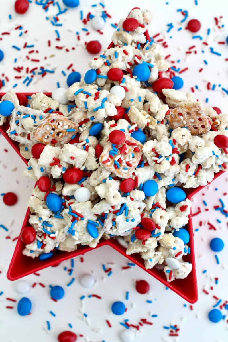 Patriotic Party Mix by The Baker Mama | Celebrate with these fun and delicious 4th of July dessert ideas!