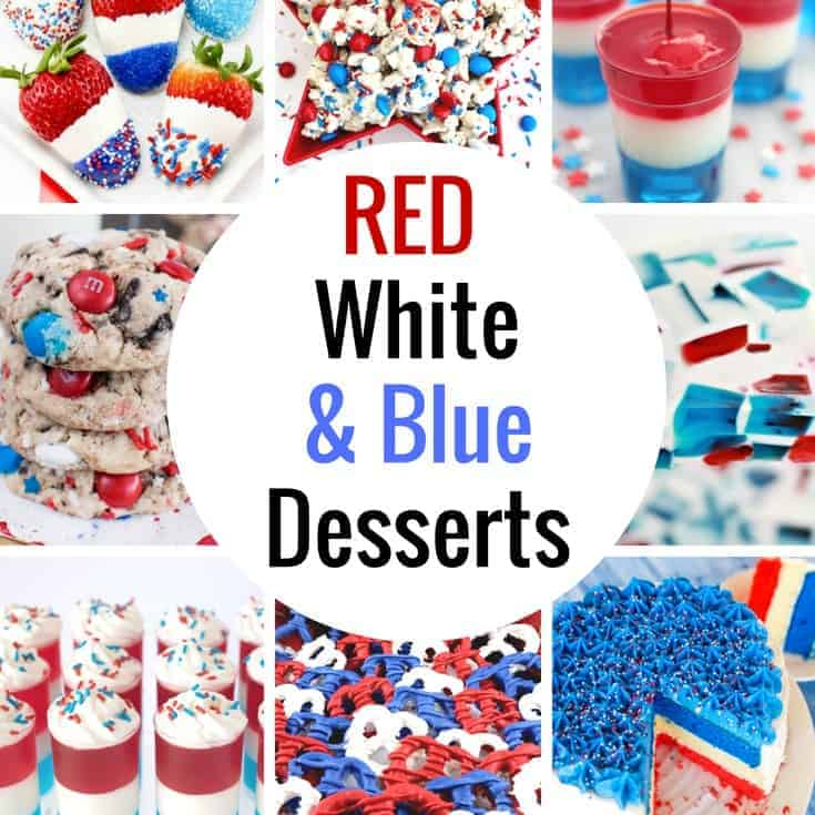 These 4th of July desserts are so fun! Red White and Blue Desserts Ideas that are perfect for Memorial Day, Fourth of July and Labor Day, these patriotic desserts will be sure to please a crowd!
