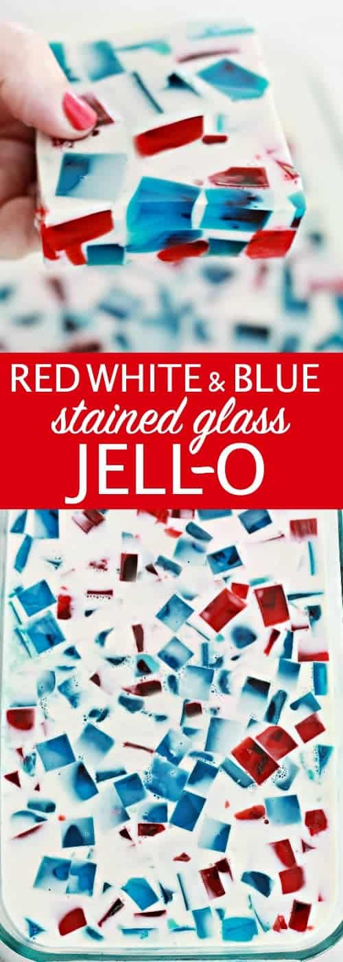 Red White and Blue Stained Glass Jello by Nest of Posies | Red White and Blue Dessert Recipe Ideas that WoW!
