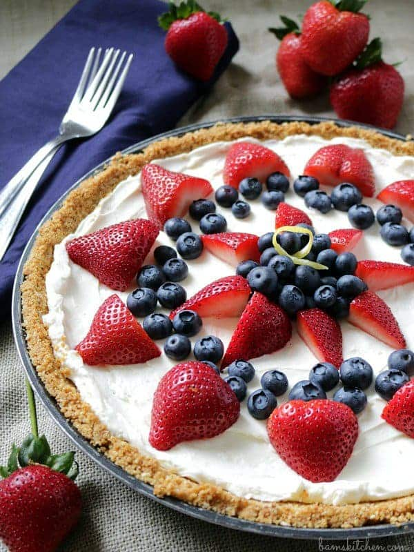 Flag Skinny Berry Cheesecake by Healthy World Cuisine | Celebrate with these 4th of July desserts!
