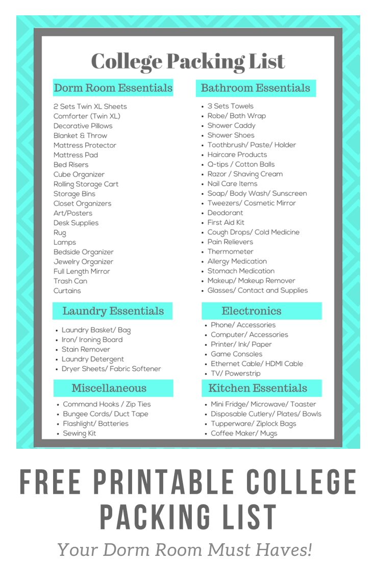 Free Printable College Packing List | All of your dorm room must haves!