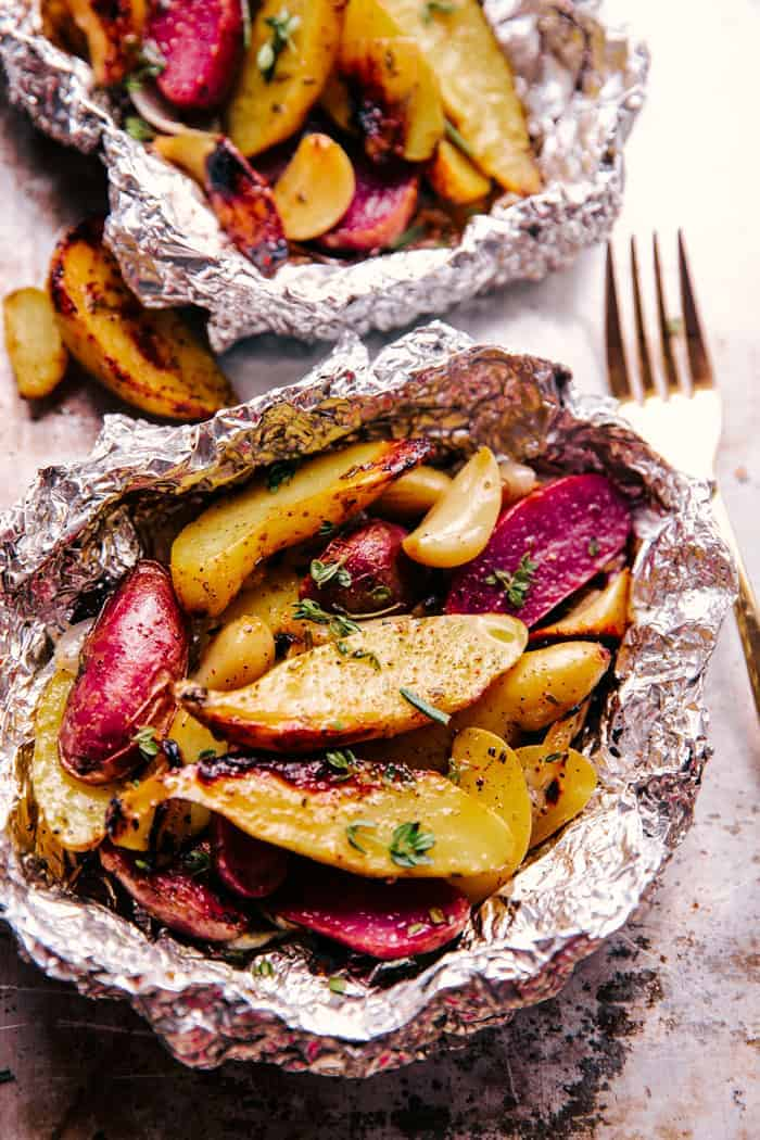 Garlic Potatoes wrapped in foil