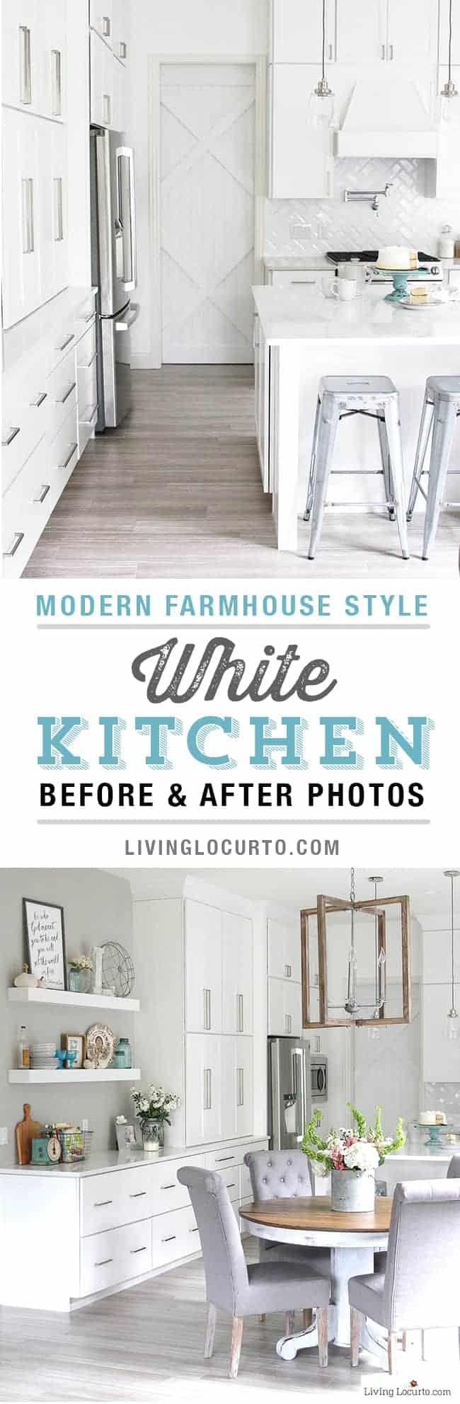 White Kitchen Modern Farmhouse by Living Locurto | Dreamy Modern Farmhouse Kitchens