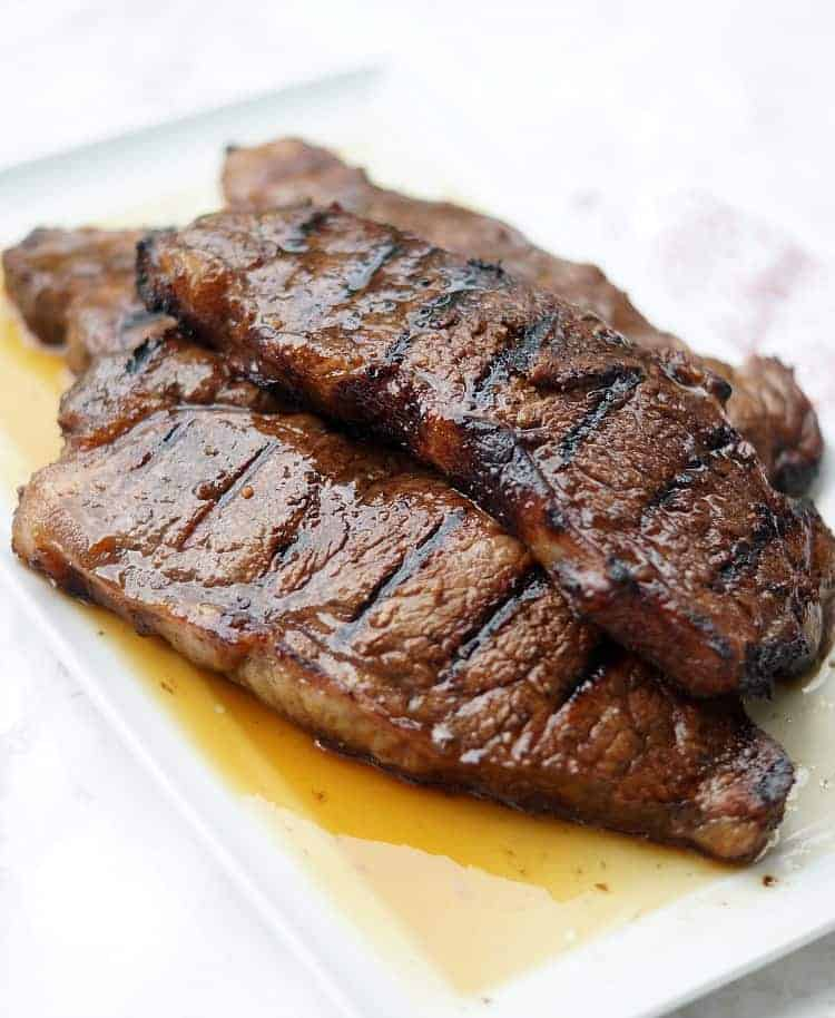 Grilled Steaks on a plate steak marinade