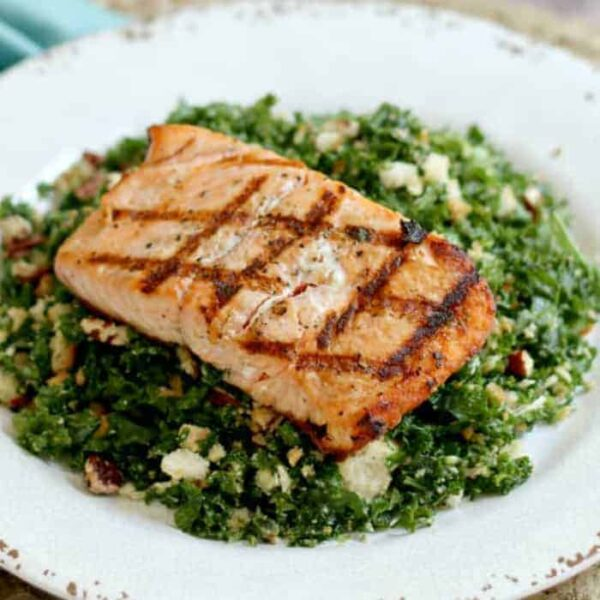 Grilled Salmon Kale Salad square featured image