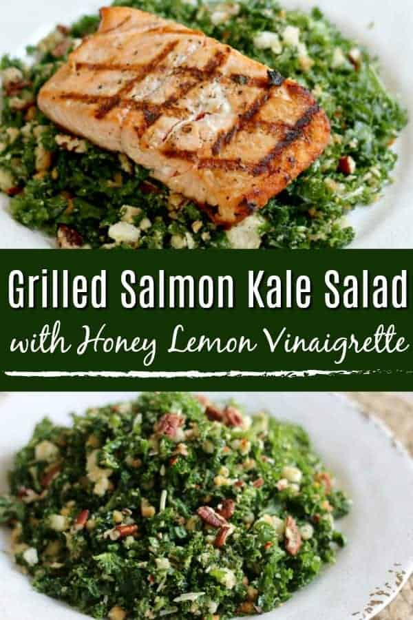 Grilled Salmon Kale Salad with Honey Lemon Vinaigrette