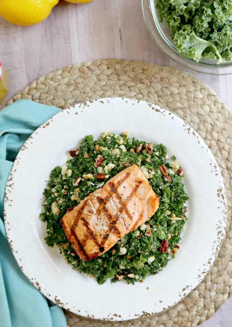 How to Make Grilled Salmon on Kale Salad with Lemon Vinaigrette