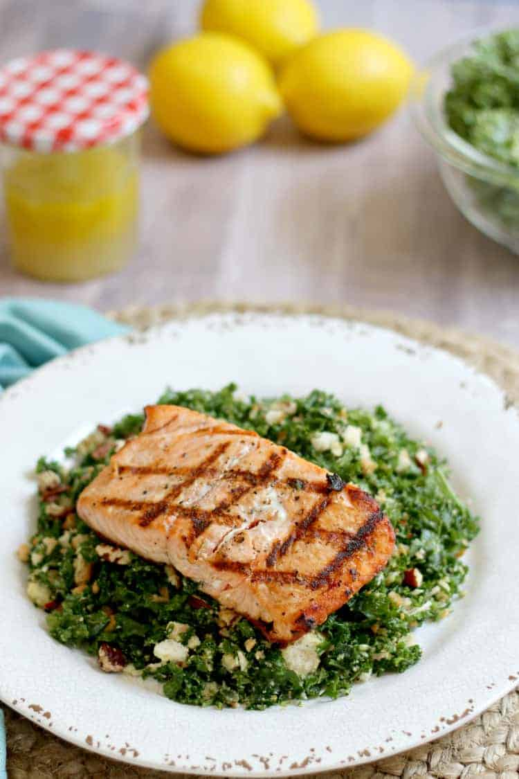 grilled salmon on a bed of kale