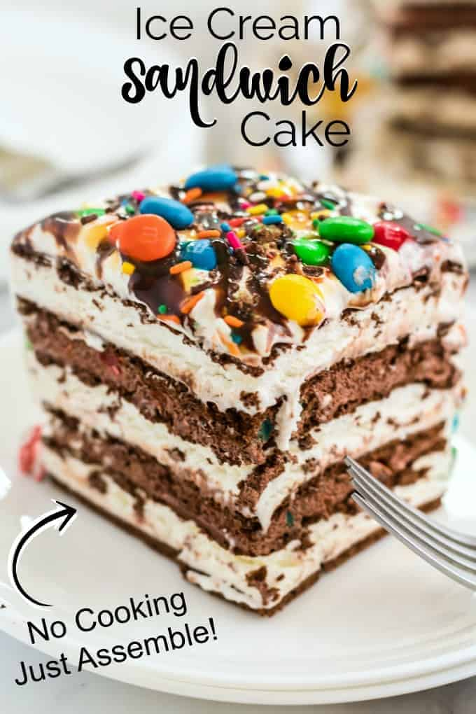 Ice Cream Sandwich Cake on a white plate with M&M's sprinkled on top