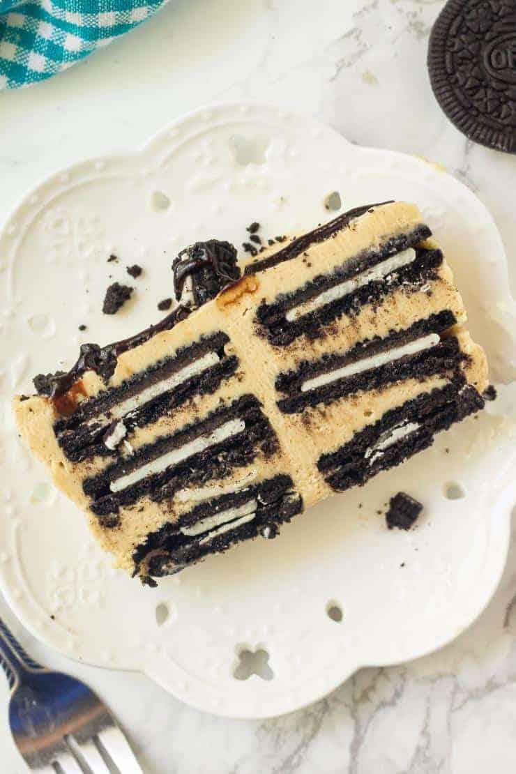 Slice of Peanut butter Oreo icebox cake