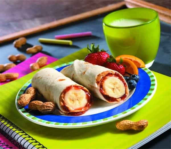 Peanut Butter and Jelly Banana Burrito by Mission | No Sandwich Lunchbox ideas for back to school