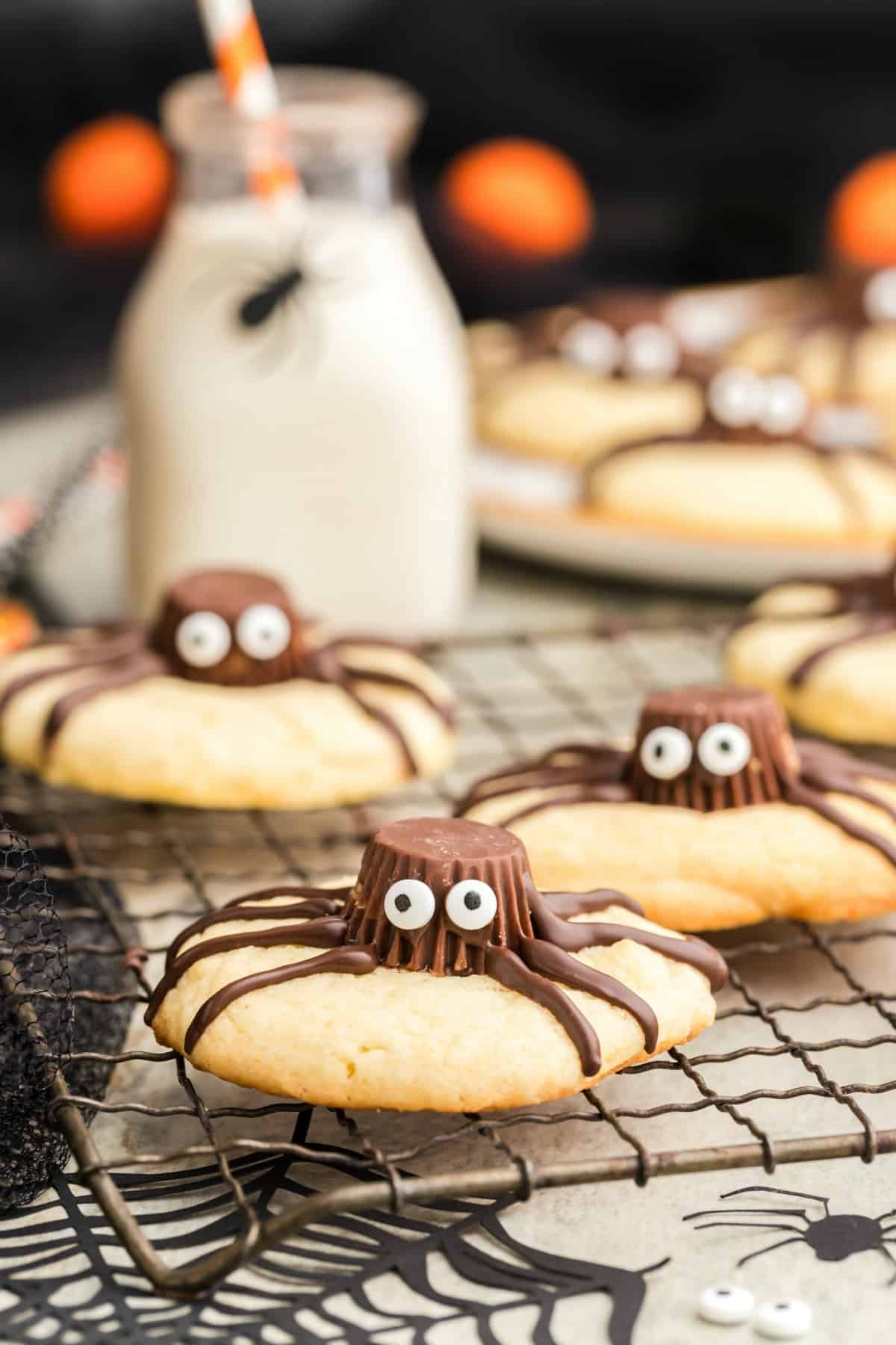 Spider Cookies on a wire rack