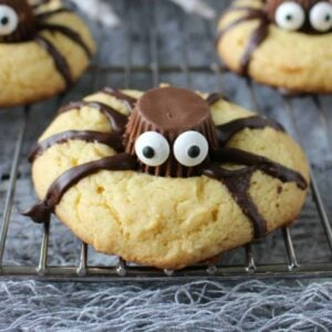 a cookie made into a spider with chocolate and candy eyes