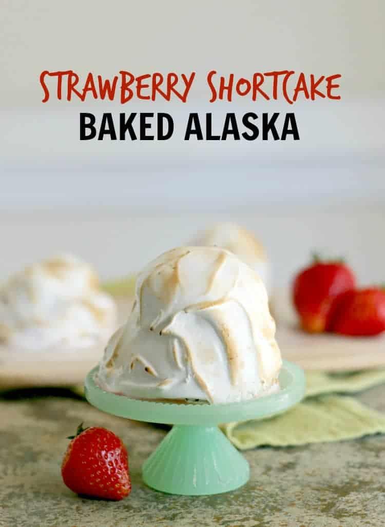 Baked Alaska strawberry shortcake