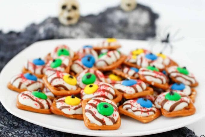 Halloween pretzels on a white plate