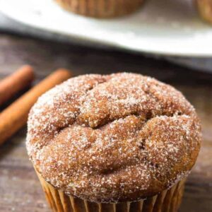 These pumpkin spice muffins are perfect for fall. So moist, filled with pumpkin, and dipped in cinnamon sugar.