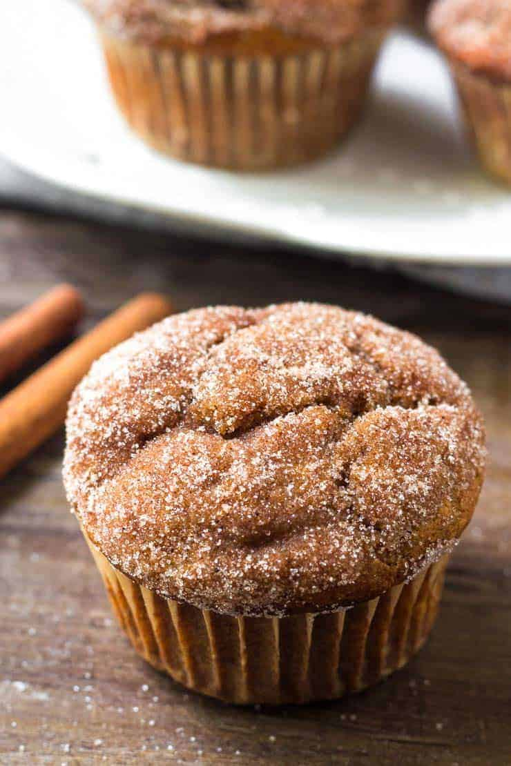 pumpkin spice muffins with cinnamon sugar on top