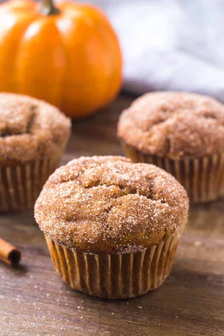 These pumpkin spice muffins have a crunchy cinnamon sugar coating and delicious pumpkin flavor.