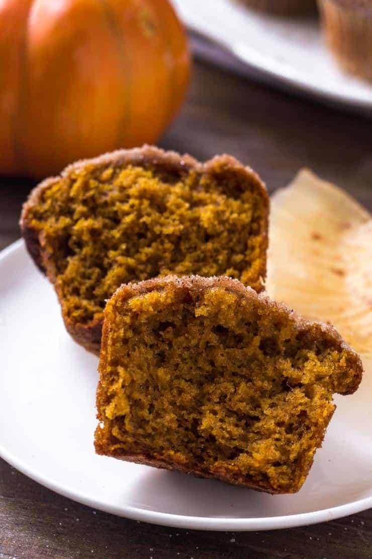 moist pumpkin muffins split in half
