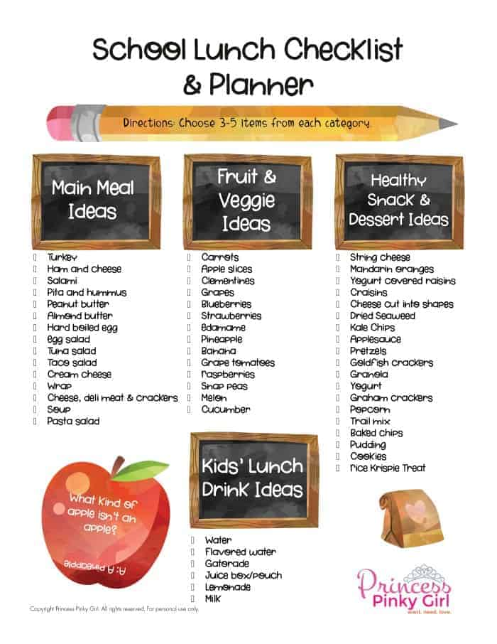 School Lunch Checklist and Planner - Princess Pinky Girl