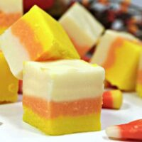 Candy corn fudge square featured image