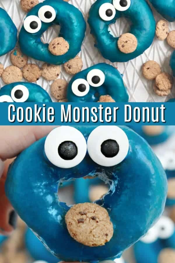 Cookie Monster Donut - In 5 minutes and with 6 ingredients you can make this adorable Cookie Monster dessert.