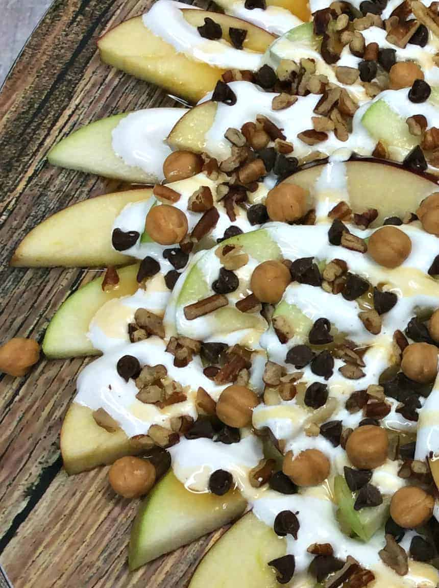Caramel apple nachos close up
