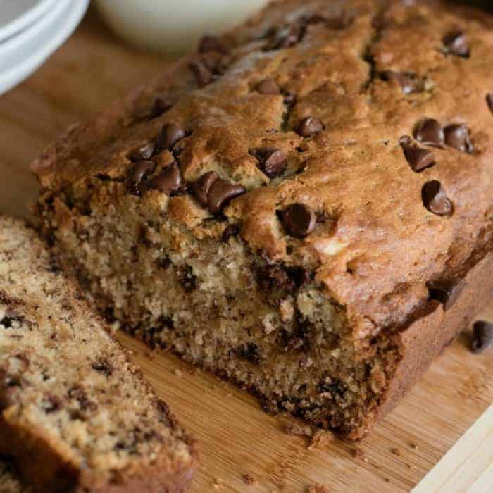 Chocolate Chip Banana Bread close up home page featured