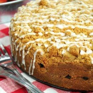 Cinnamon Apple Crumb Cake whole cake square featured