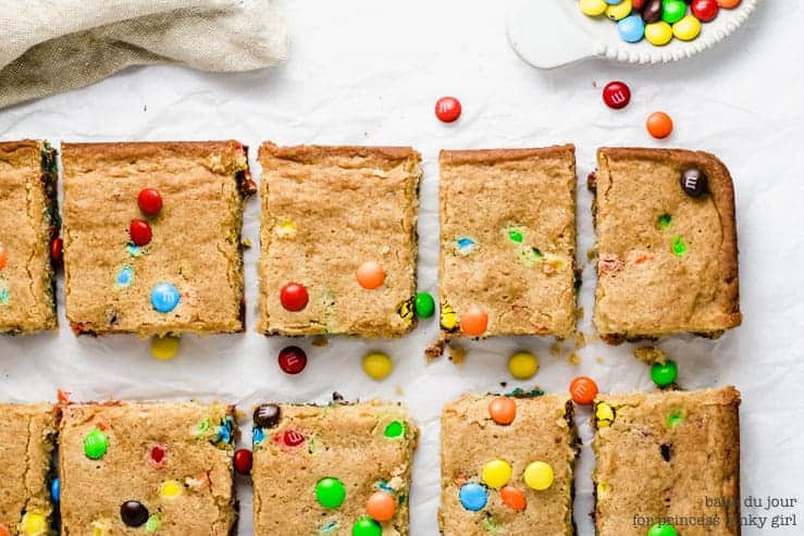 Princess Pinky Girl - M&M Blondies sliced into squares