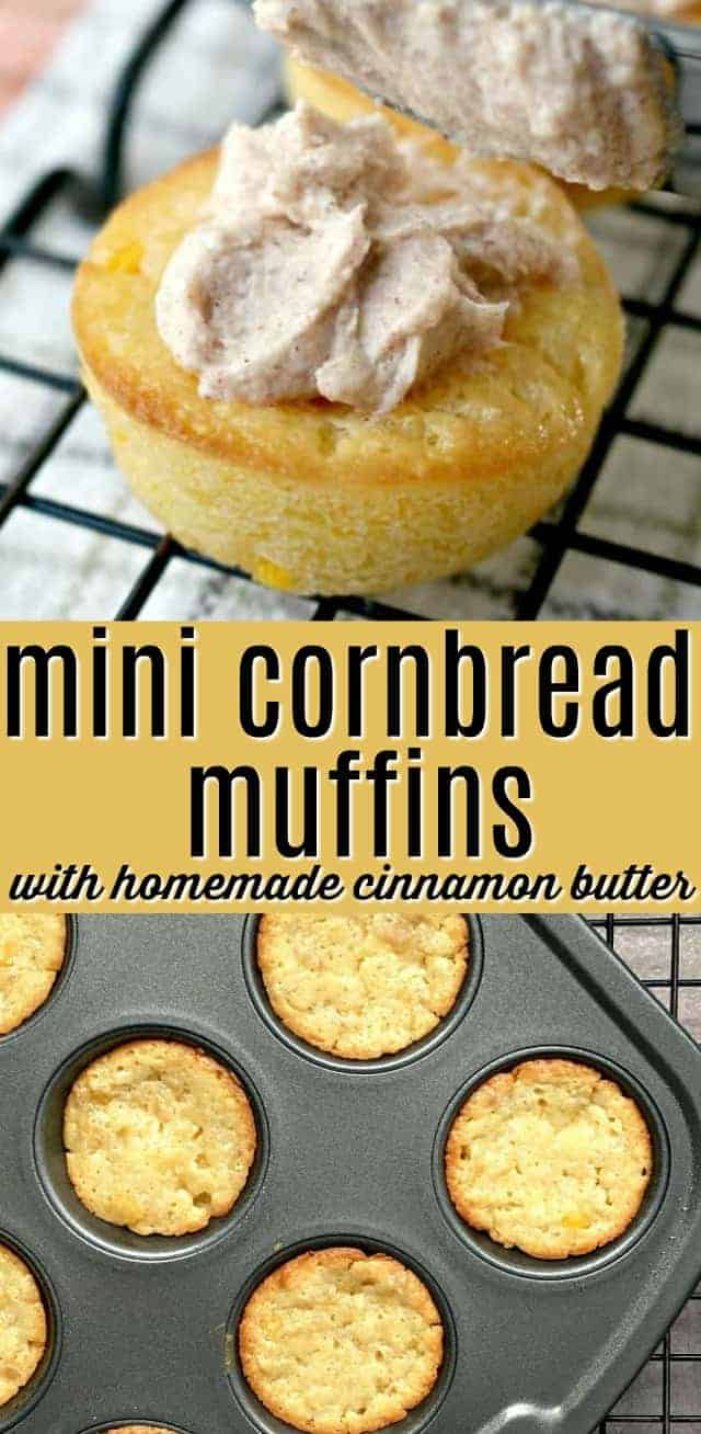 mini cornbread muffins with cinnamon butter image for Pinterest