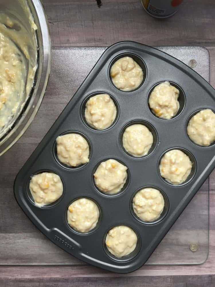 cornbread batter in a mini muffin pan