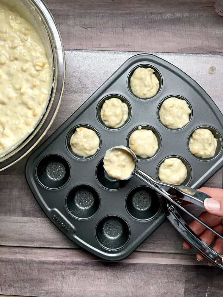 Fill up the mini muffin pan using a cookie scoop
