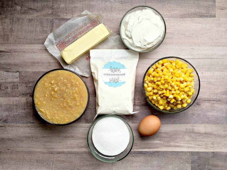 Corn bread mix, corn, egg, butter