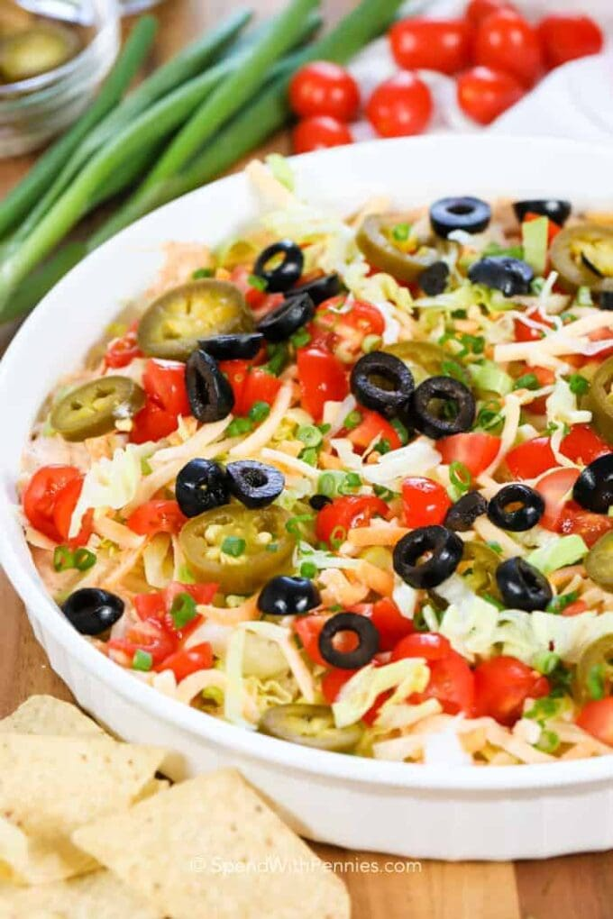 5 minute taco dip by spend with pennies 25 thanksgiving make ahead appetizers