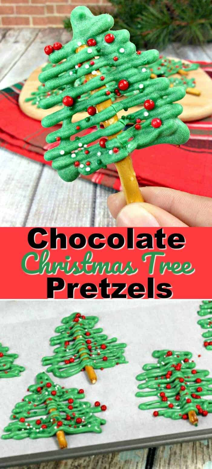 Chocolate Christmas Tree Pretzels