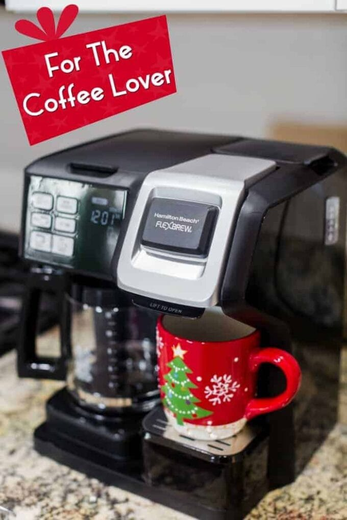 coffee maker with with red Christmas cup