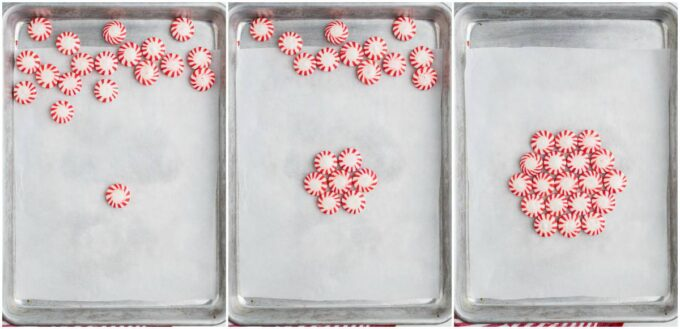 peppermint candy on a baking sheet