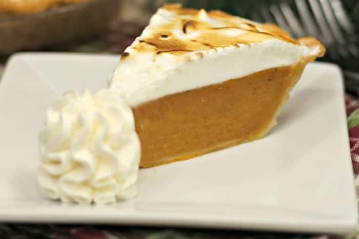 Sweet Potato Pie with Marshmallow Meringue on a plate